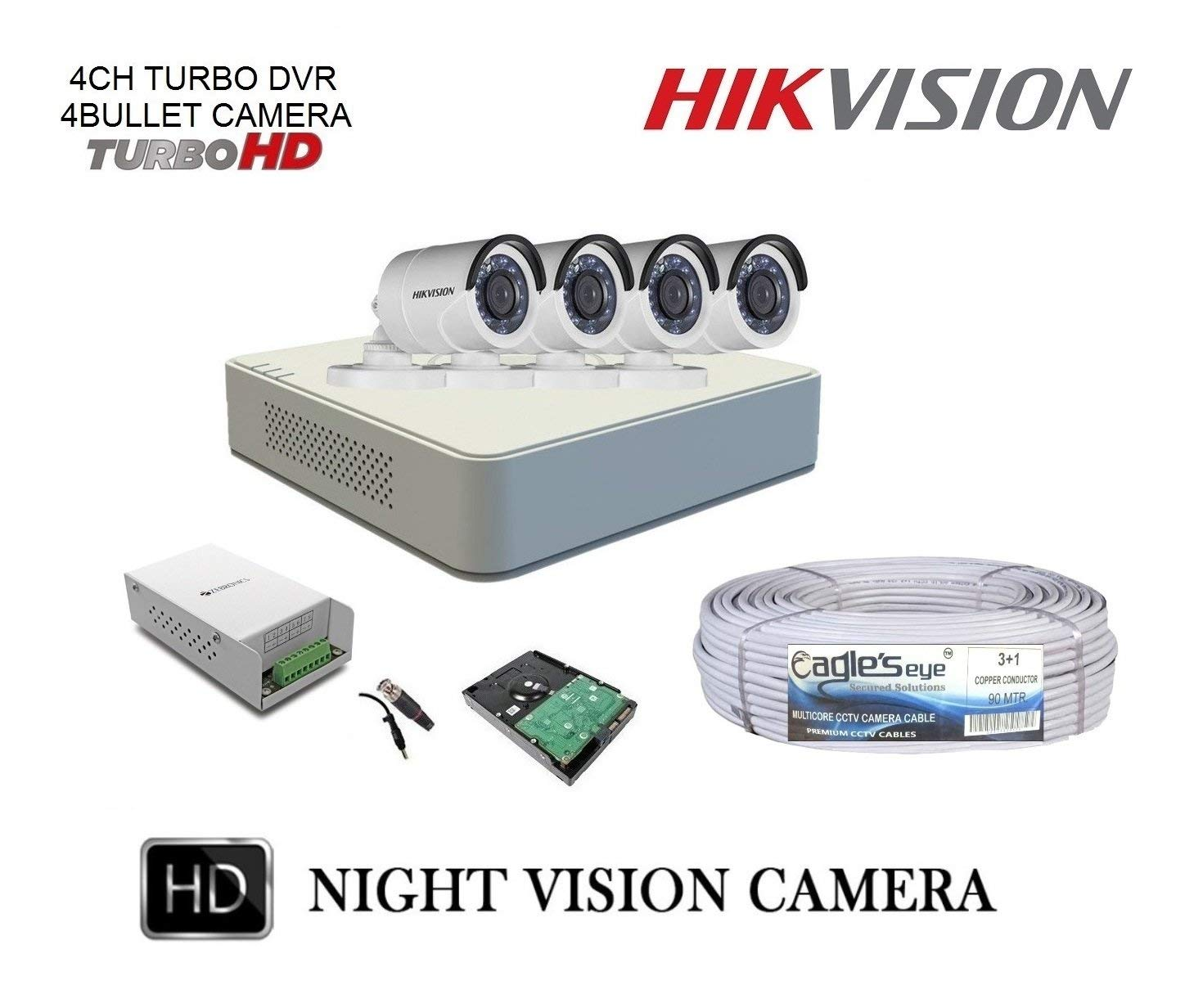 c31b144f264 Hikvision 7100 Series 4Ch DVR 2MP and 4 Bullet 2MP Cameras Kit - The ...